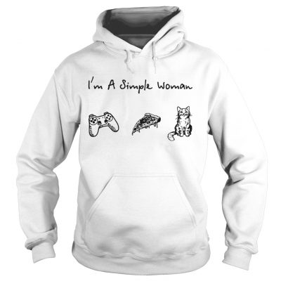 m a simple woman I love game pizza and cat Hoodie