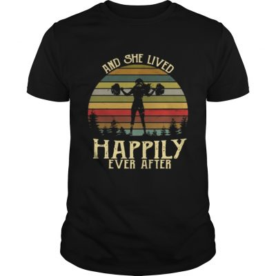 Weightlifting and she lived happily ever after retro Guys Shirt