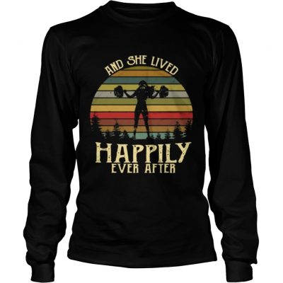 Weightlifting and she lived happily ever after retro Longsleeve Shirt