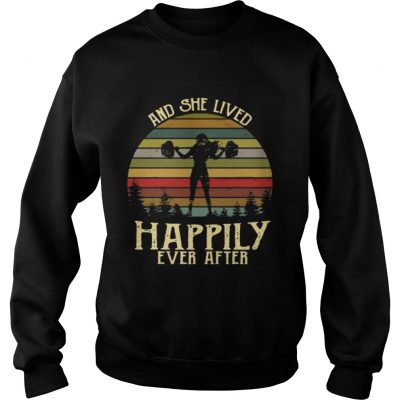 Weightlifting and she lived happily ever after retro Sweater