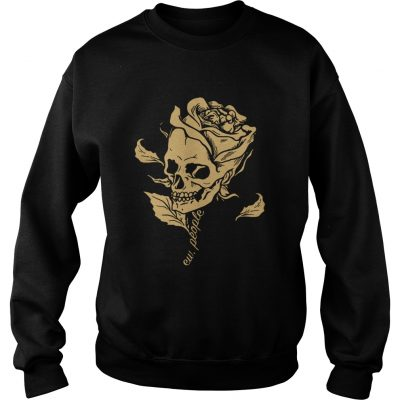 Dark Art Beauty in Everything Smiling Skull and Rose Sweater