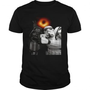 Darth Vader and Stormtroopers selfie with black hole shirt