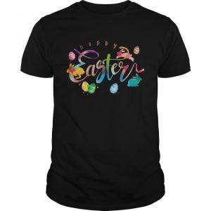 Happy Easter With Eggs Rabbits Decor TShirt