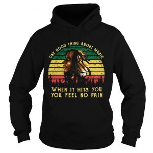 Bob Marley Iron Lion Zion one good thing about music when it hits you you feel no pain retro hoodie
