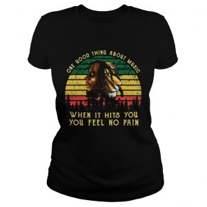 Bob Marley Iron Lion Zion one good thing about music when it hits you you feel no pain retro ladies tee