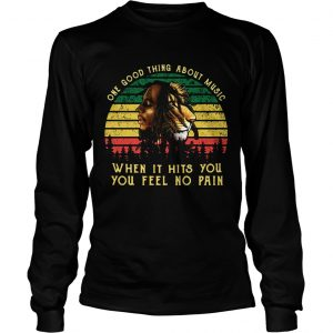 Bob Marley Iron Lion Zion one good thing about music when it hits you you feel no pain retro longsleeve tee