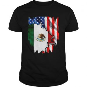 Coat of arms of Mexico inside American flag shirt