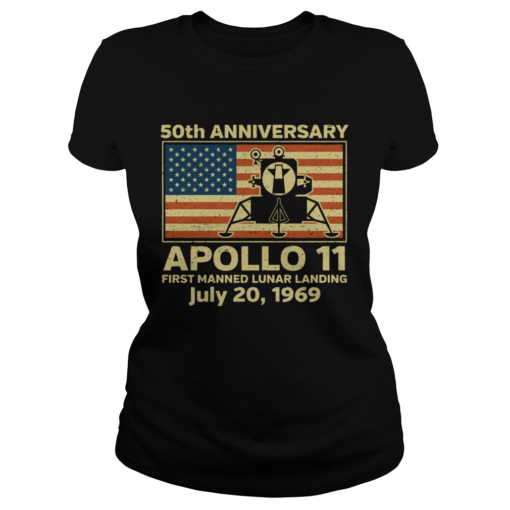 American flag apollo 11 first manned lunar landing July 20 1969  Classic Ladies