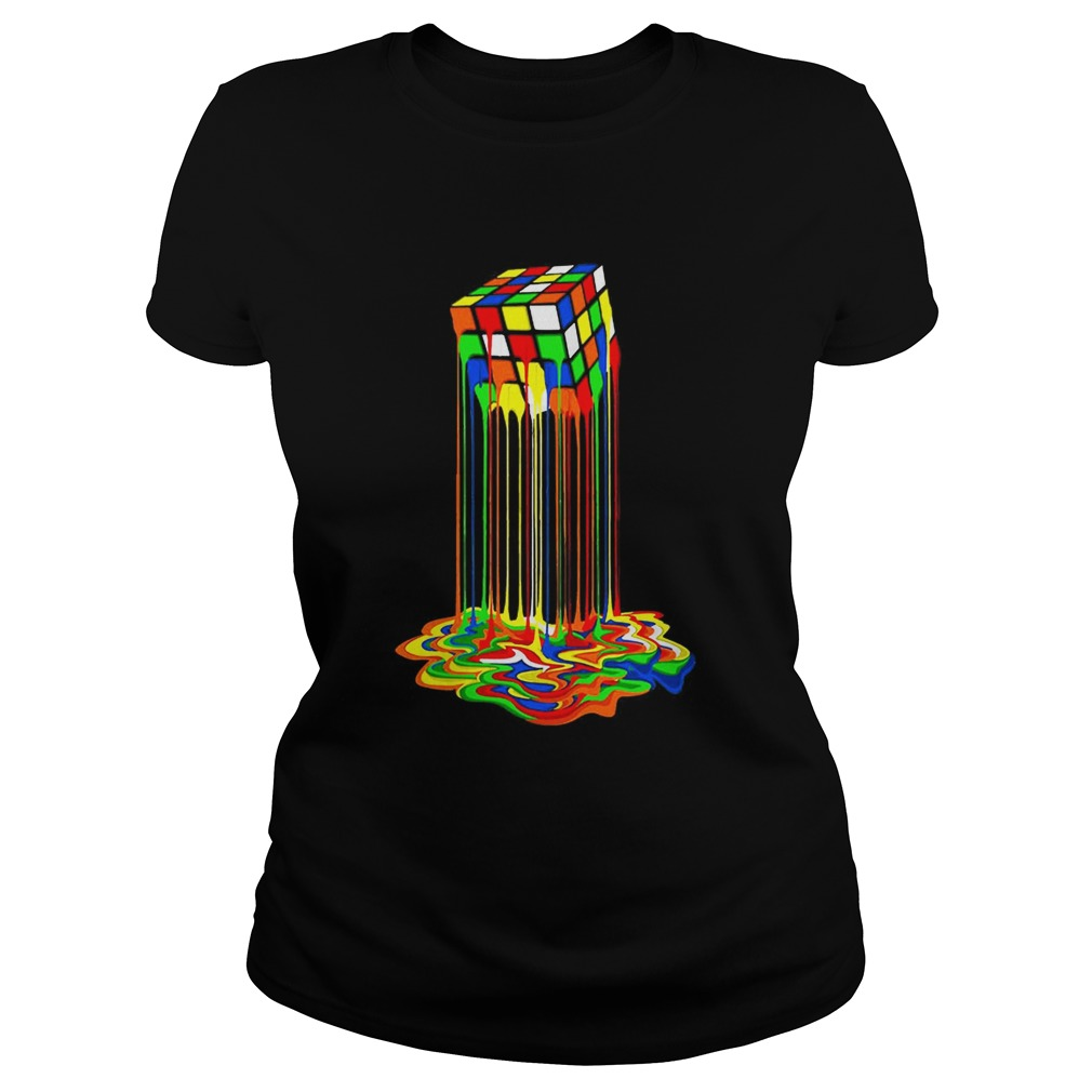 Original Rainbow Abstraction Melted Rubiks Cube Colorful Cube  Classic Ladies