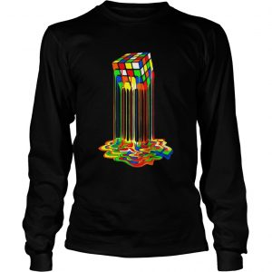 Original Rainbow Abstraction Melted Rubiks Cube Colorful Cube  LongSleeve