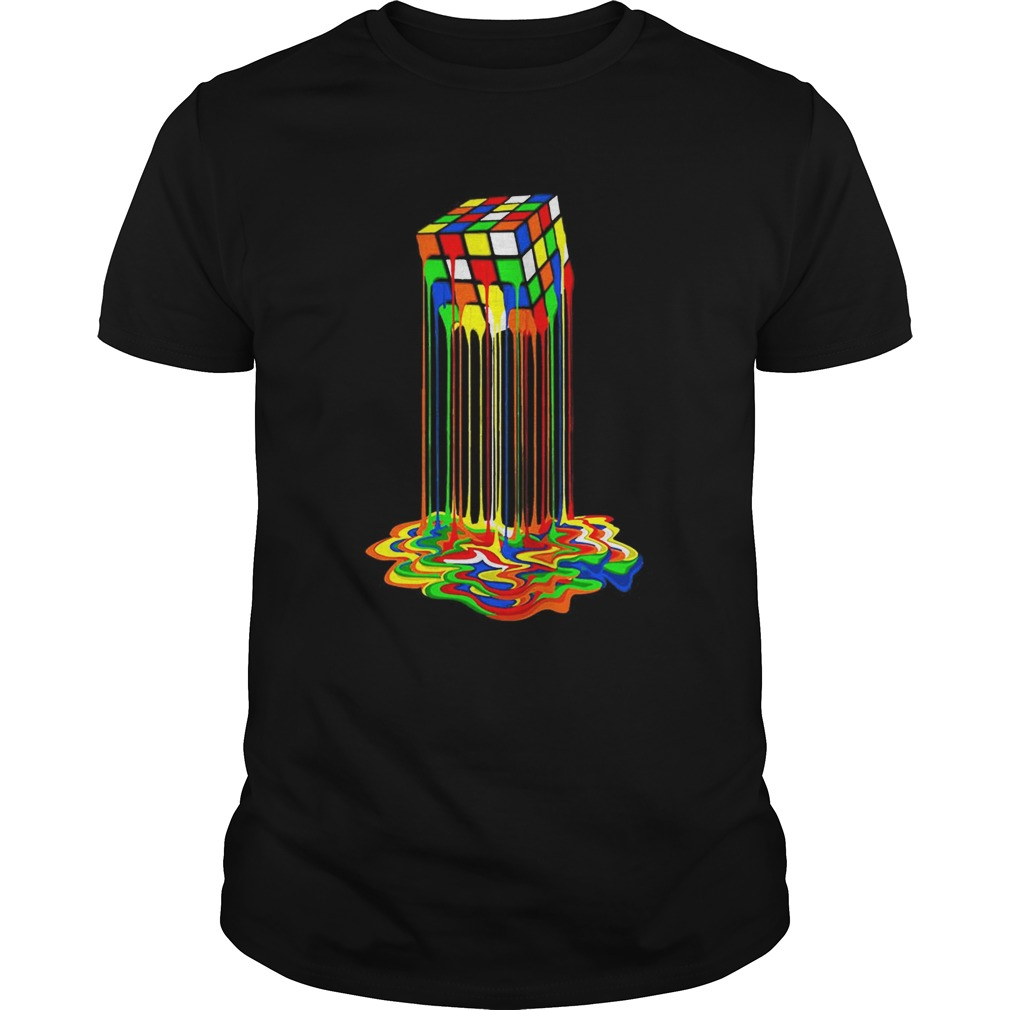 Original Rainbow Abstraction Melted Rubiks Cube Colorful Cube  Unisex