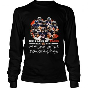 100 years of Chicago Bears 1920 2020 signature  LongSleeve
