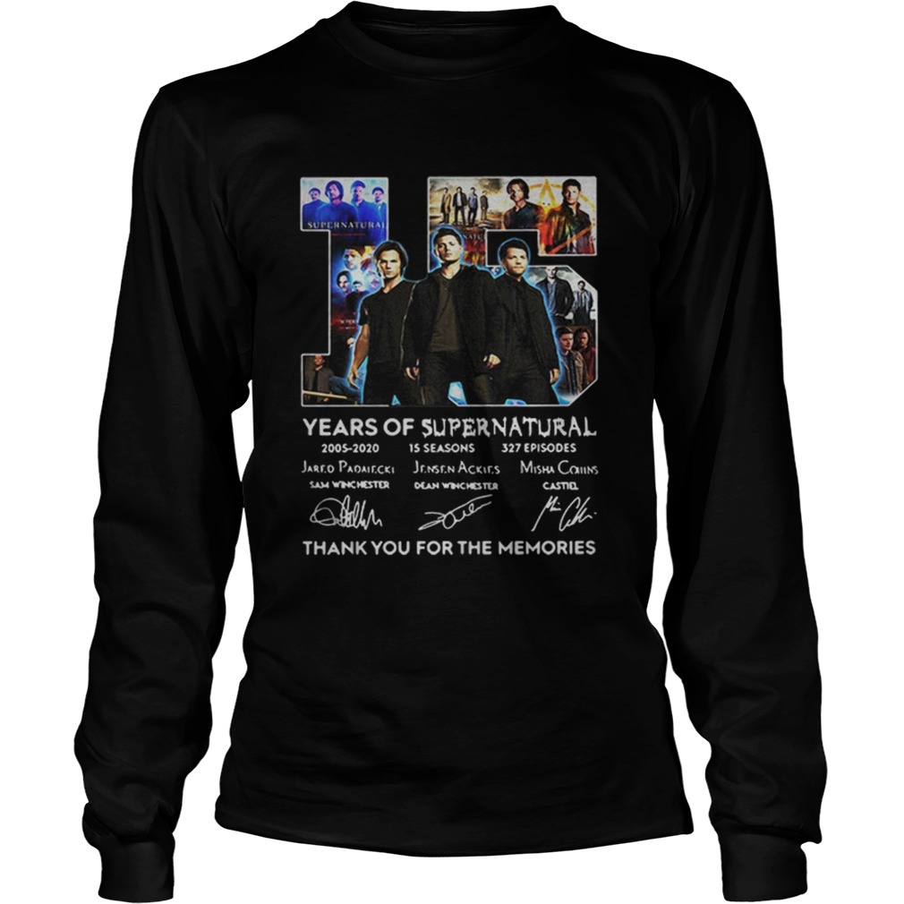 15 Years Of Supernatural Thank For The Memories Signature  LongSleeve