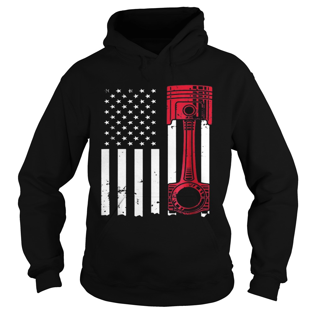 American Flag Piston Muscle Car  Hoodie