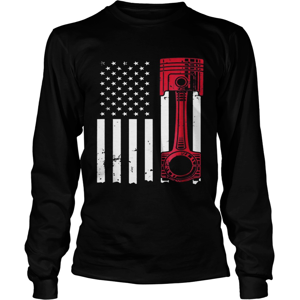 American Flag Piston Muscle Car  LongSleeve