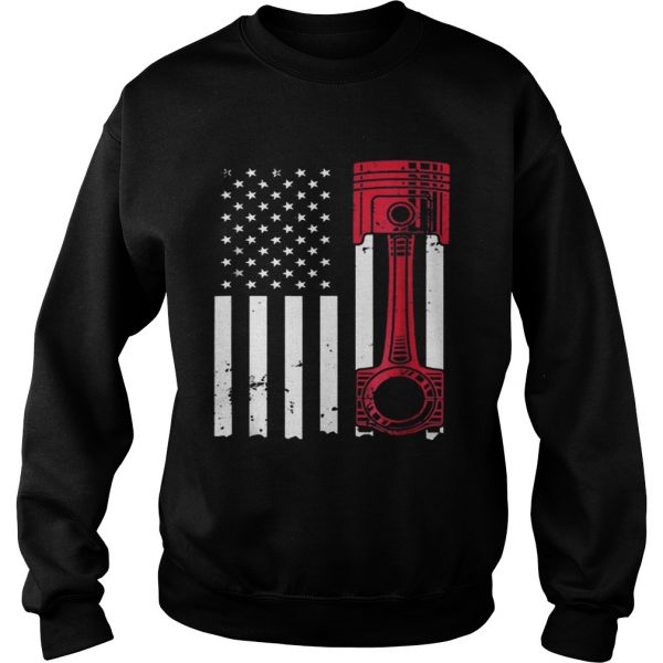American Flag Piston Muscle Car  Sweatshirt