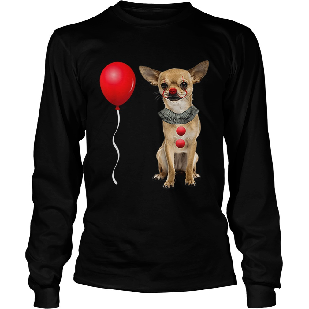 Chihuahua Scary Clown Funny Halloween Costume Gift  LongSleeve
