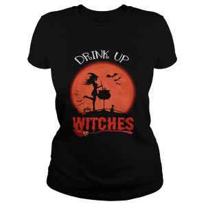 Halloween Drink Up Withches Vintage Wine Lover Gift TShirt Classic Ladies