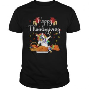 Dabbing Unicorn Dog Eating Turkey Happy Thanksgiving Day  Unisex