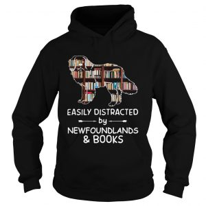 Easily Distracted By Newfoundlands And Books Crewneck  Hoodie