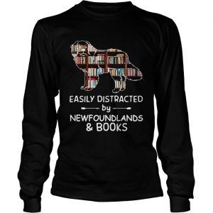 Easily Distracted By Newfoundlands And Books Crewneck  LongSleeve