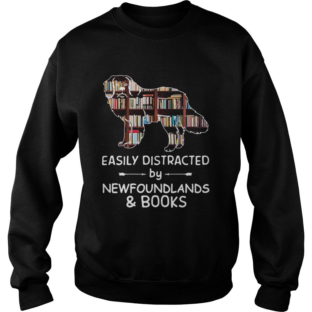 Easily Distracted By Newfoundlands And Books Crewneck  Sweatshirt