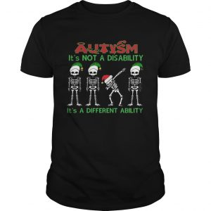Santa Skeleton autism its not a disability its a different ability christmas  Unisex