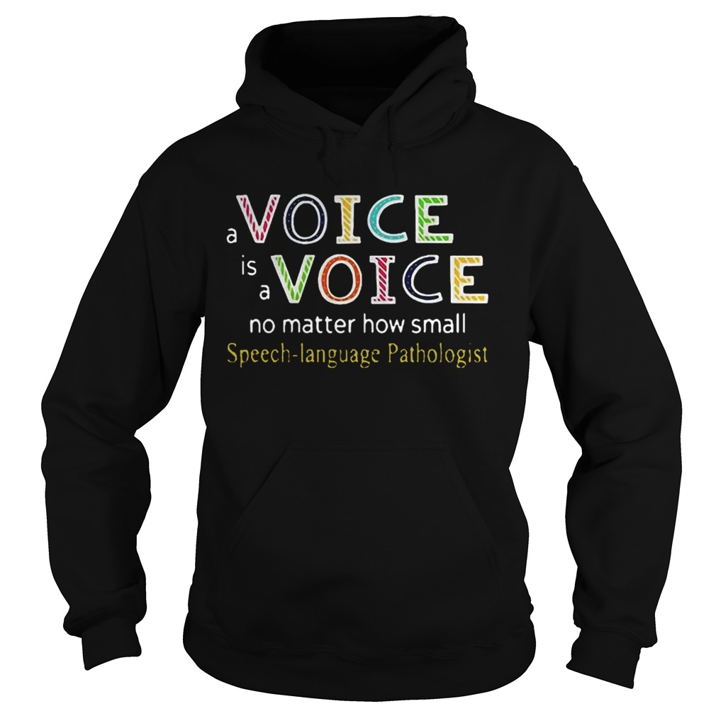 A Voice Is A Voice No Matter How Small Speech Language Pathologist  Hoodie