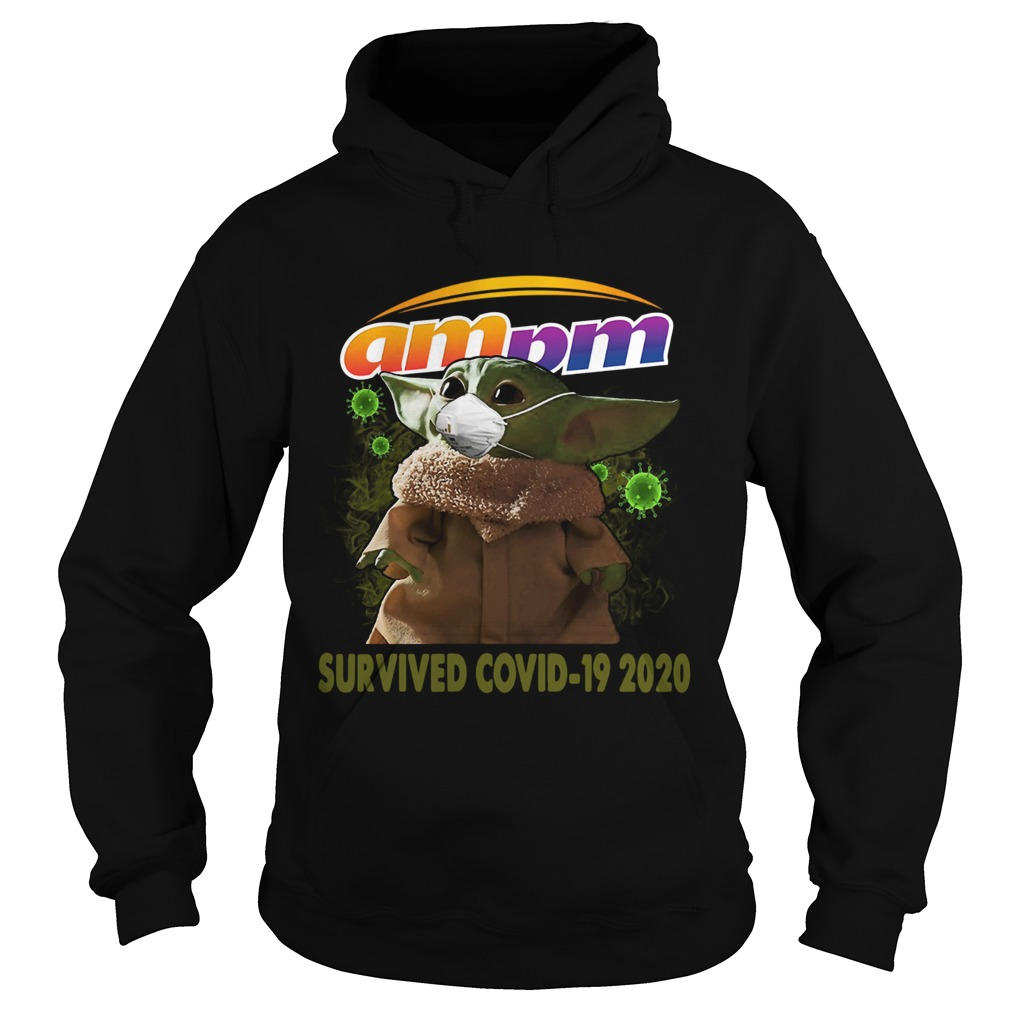 Baby Yoda Am Pm Survived Covid 19 2020  Hoodie
