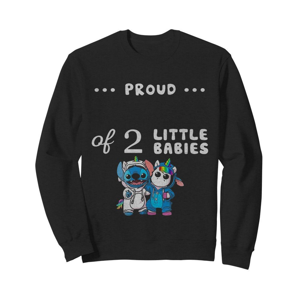 Baby Stitch And Unicorn Proud Of 2 Little Babies  Unisex Sweatshirt