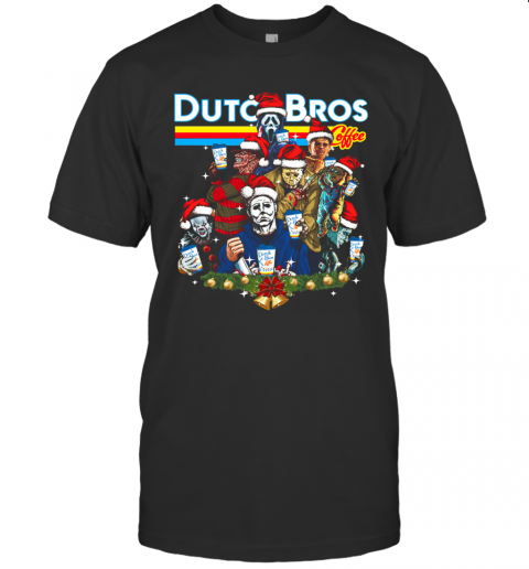 Merry Christmas Horror Movie Characters Dutch Bros Coffee T-Shirt Classic Men's T-shirt