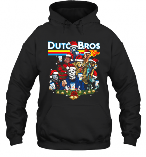 Merry Christmas Horror Movie Characters Dutch Bros Coffee T-Shirt Unisex Hoodie