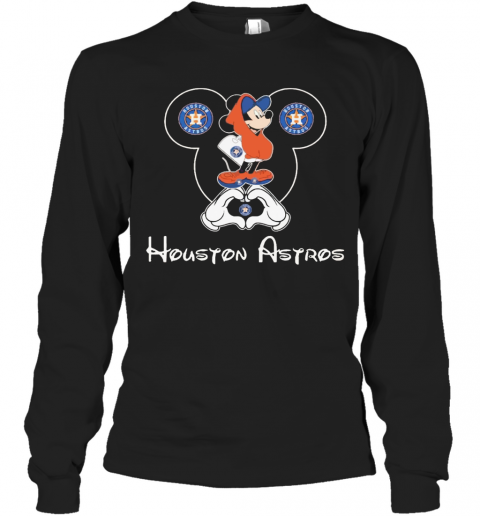 Mickey Mouse Houton Astros Heart T-Shirt Long Sleeved T-shirt