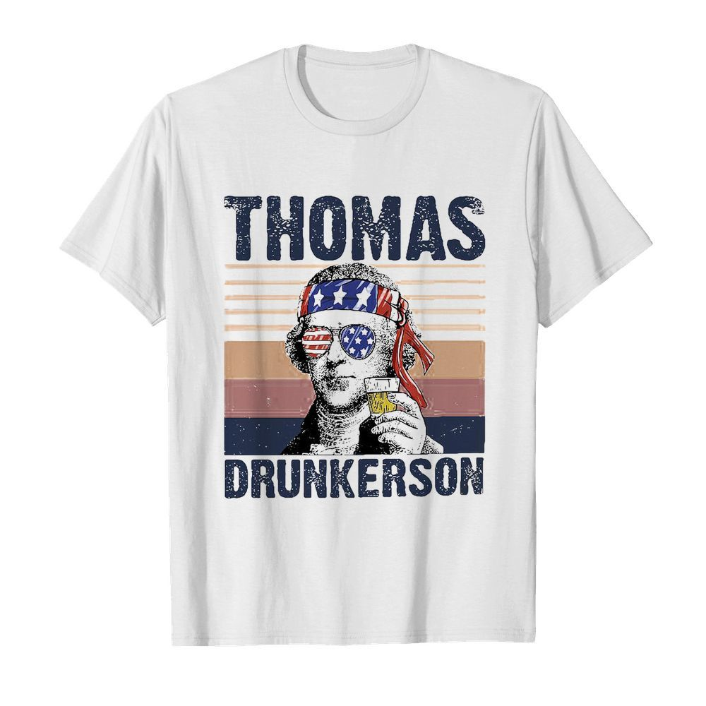 Thomas drunkerson drinking beer american flag independence day vintage  Classic Men's T-shirt