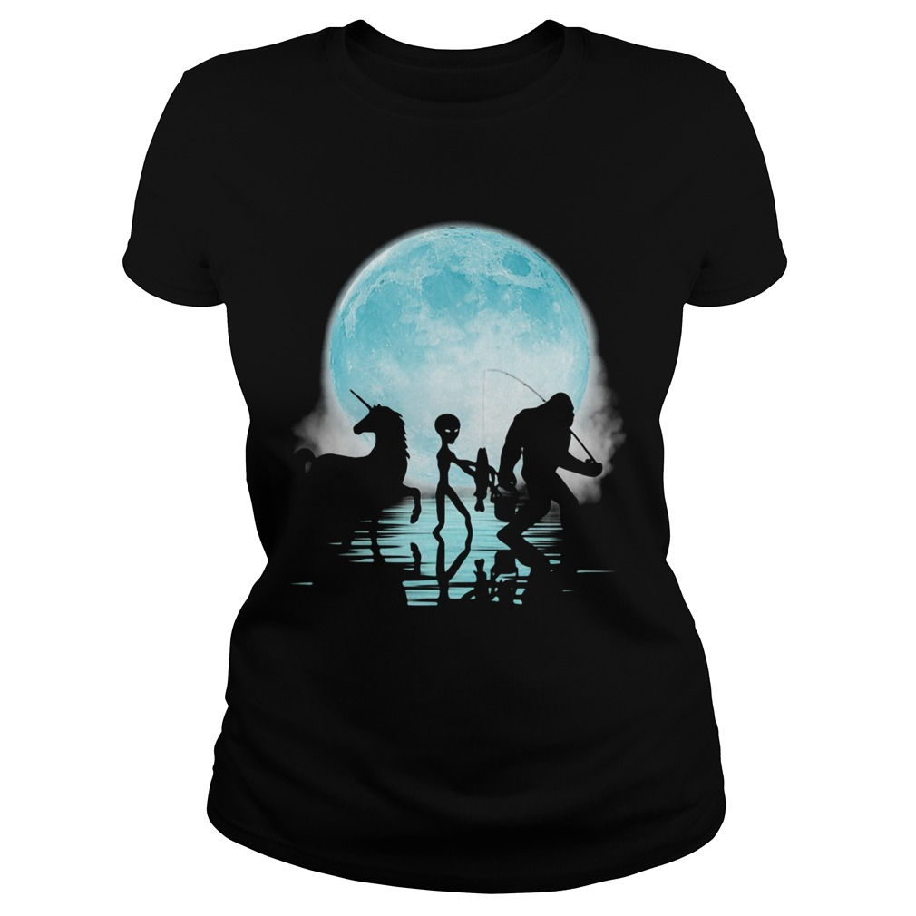 Bigfoot Goes Fishing With Alien And Unicorn  Classic Ladies