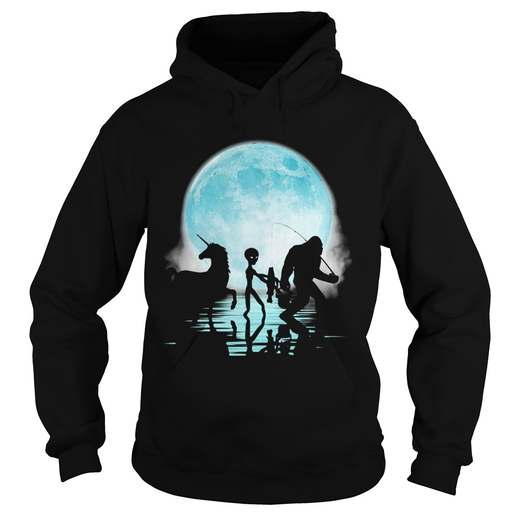 Bigfoot Goes Fishing With Alien And Unicorn  Hoodie