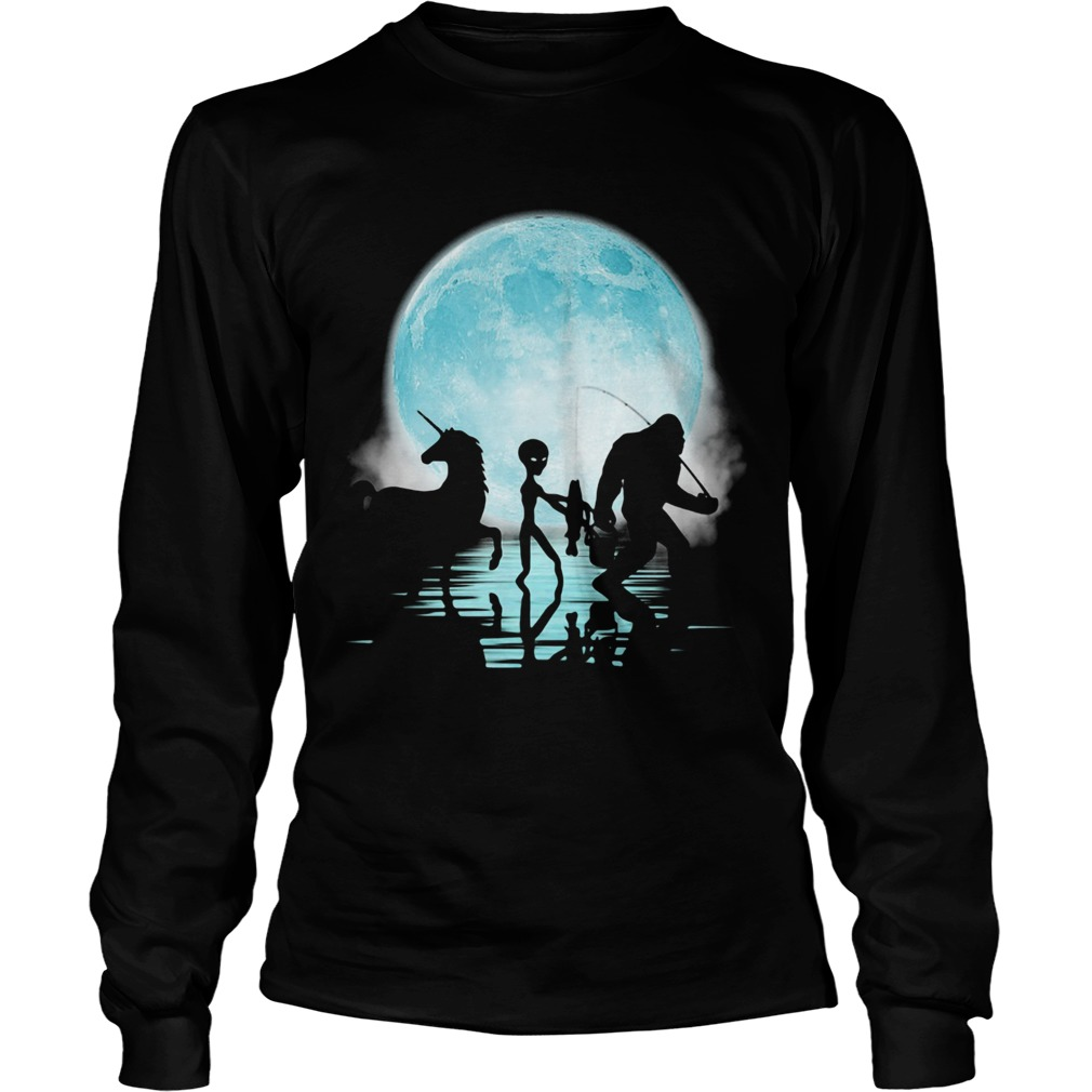 Bigfoot Goes Fishing With Alien And Unicorn  Long Sleeve