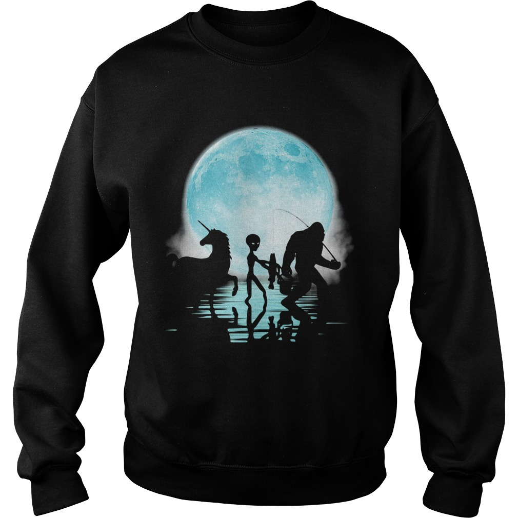 Bigfoot Goes Fishing With Alien And Unicorn  Sweatshirt