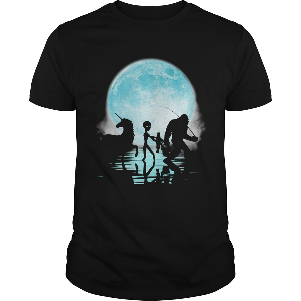 Bigfoot Goes Fishing With Alien And Unicorn  Unisex