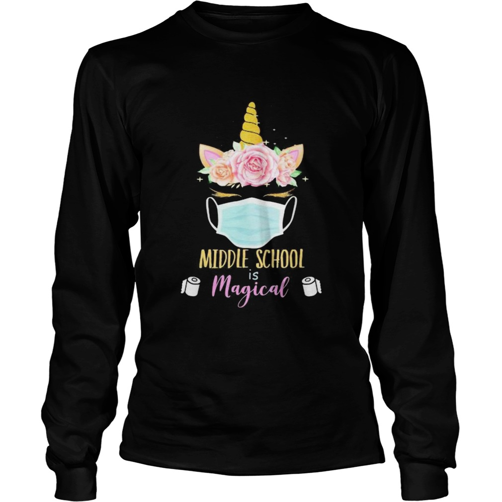 Unicorn Face Middle school is magical toilet paper  Long Sleeve