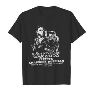 Kings never die wakanda forever rip chadwick black panther thank you for the memories 1976 2020 signatures  Classic Men's T-shirt