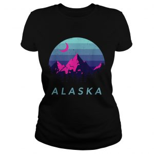 Alaska Vintage Mountain Sunset Outdoors Hiking Souvenir  Classic Ladies