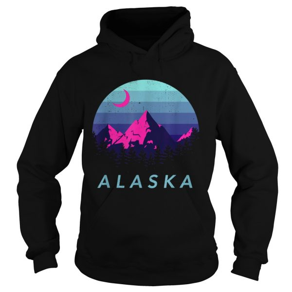 Alaska Vintage Mountain Sunset Outdoors Hiking Souvenir  Hoodie