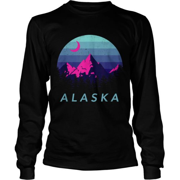 Alaska Vintage Mountain Sunset Outdoors Hiking Souvenir  Long Sleeve