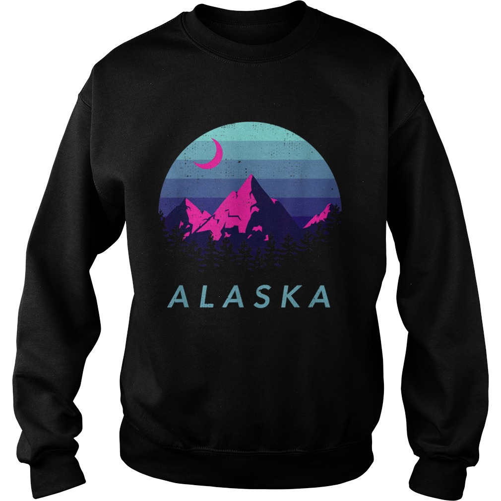 Alaska Vintage Mountain Sunset Outdoors Hiking Souvenir  Sweatshirt