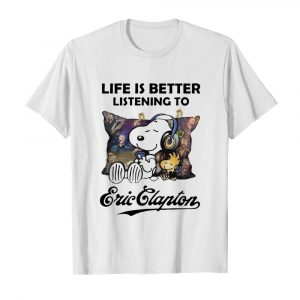 Snoopy Life Is Better Listening To Eric Clapton  Classic Men's T-shirt