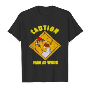The Simpsons Caution Man At Work  Classic Men's T-shirt